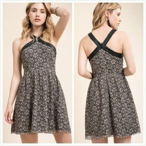 NWT Anthropologie Lace Faux Leather Trimmed Dress